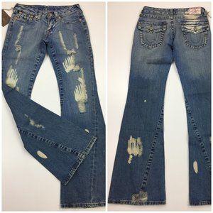 NWT TRUE RELIGION #503 Distressed Flare Leg Jeans